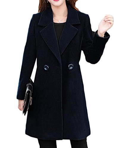 Pivaconis Women's Coat Fit Mid-Length Double-Breasted Solid Color Pea Coat Black S