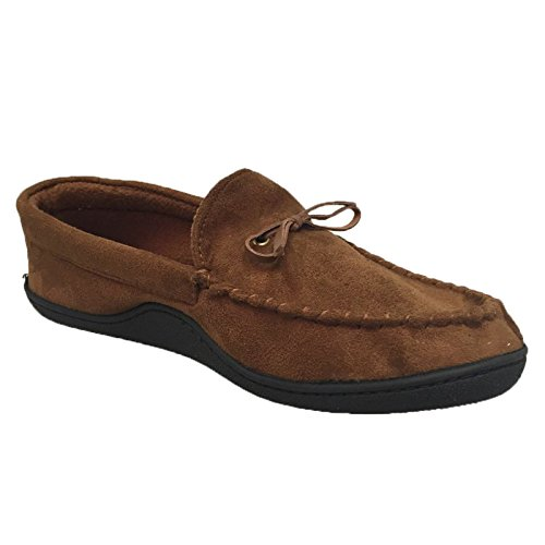 Isotoner Microsuede Boater Moccasin Style Memory Foam Slippers (Cognac, Medium)