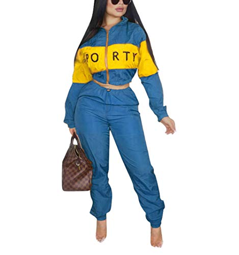 (Womens Letter Print 2 Piece Outfits Patchwork Windbreaker Crop Top Long Pants Tracksuit Set Blue Size XL)