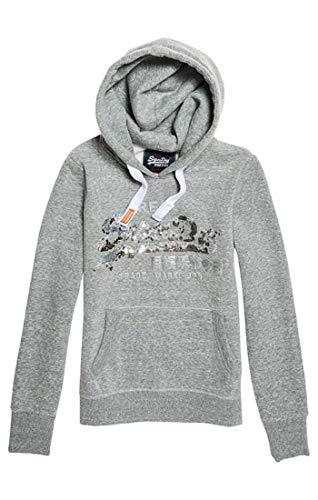 Vintage Superdry Sequin Hood Entry Donna grey Wx2 Logo Heather Grigio Felpa Z44wgRxdqn