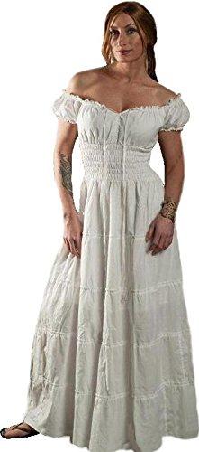 Renaissance Wench Costume Peasant Dress Boho Hippie Sundress White Xl (Renaissance Wench)