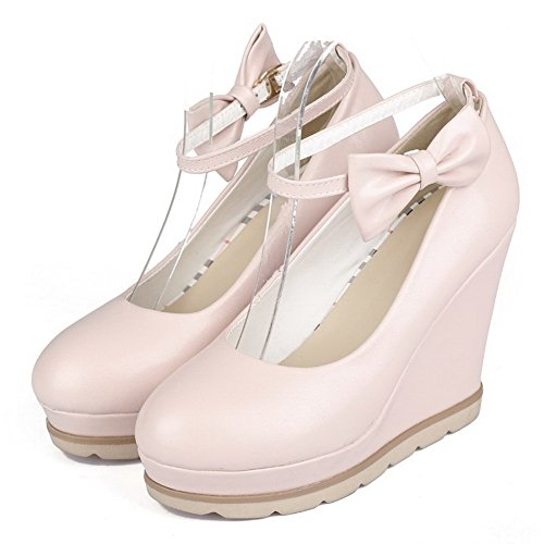 Pink Soft Closed Heels Round WeiPoot Toe Women's High Solid Shoes Pumps Material Buckle qw1A47xX
