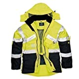 HI VIS Breathable Safety Jacket Coat Radio Loop D Ring High Visibility Workwear [L] [Yellow/Navy]