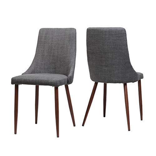 - Raphelle Mid Century Light Grey Fabric Dining Chairs with Dark Walnut Wood Finished Legs (Set of 2)