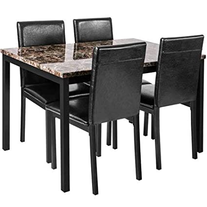 Amazon Com Faux Marble Dining Table With 4 Pu Leather