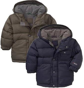 faa01b7034177 GAP(ギャップ) kids baby GAP フード付 ダウン ジャケット (紺色・オリーブ色