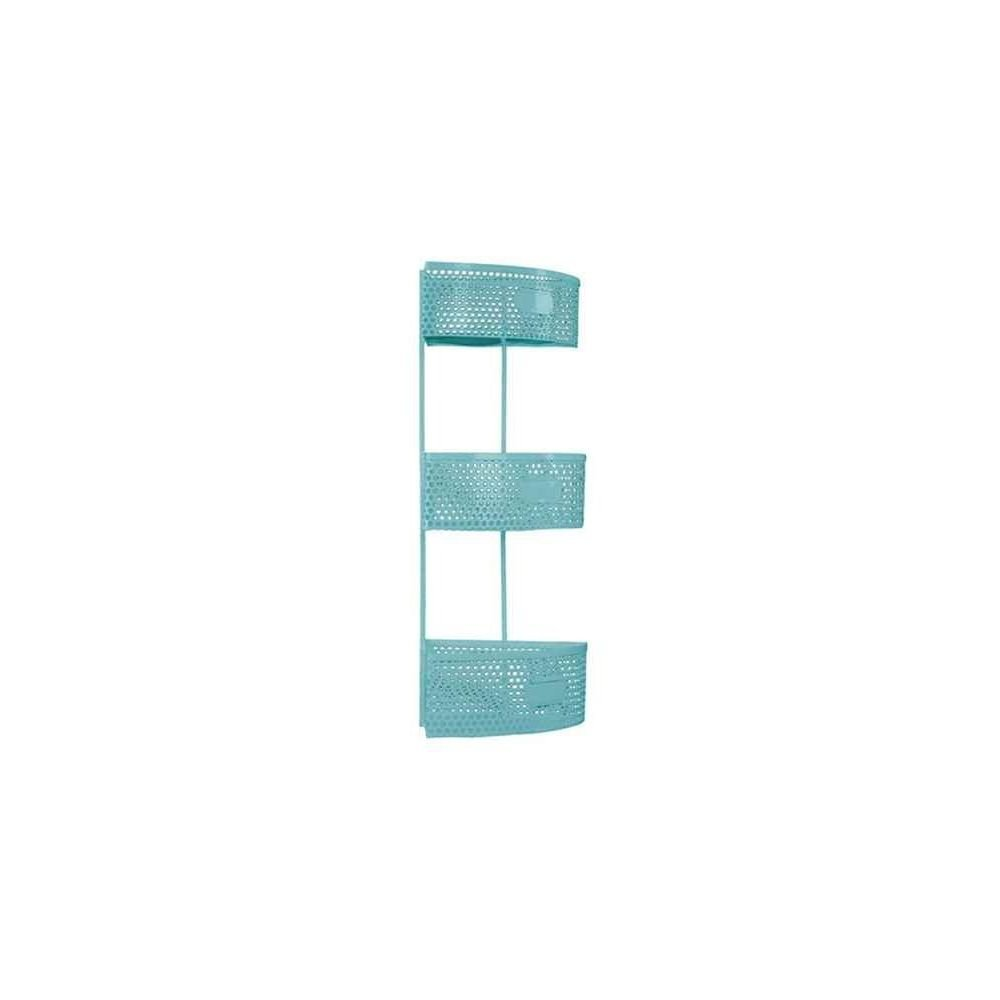 Urban Trends Collection Metal Sector Shaped Corner Shelf, Light Blue