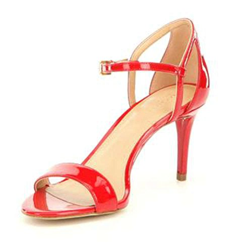 Open Sandals Toe Kors Michael (MICHAEL Michael Kors Womens Simone mid Sandal Open Toe, Bright red, Size 5.0)