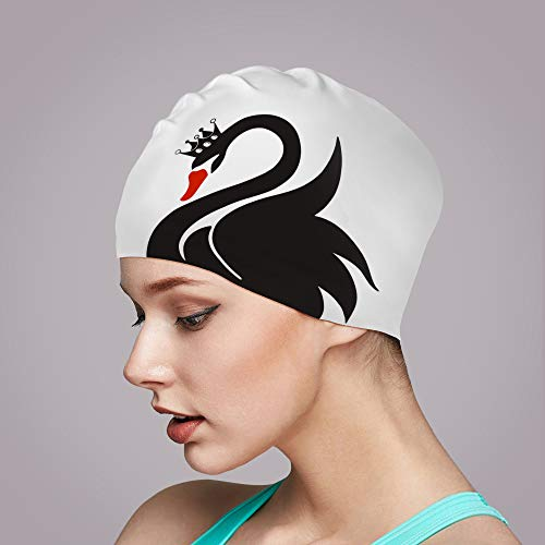 Swim Cap for Women Long Hair Curly Hair Solid Silicone Waterproof Bathing Swan Swimming Caps for Girls Adult Youth (White)