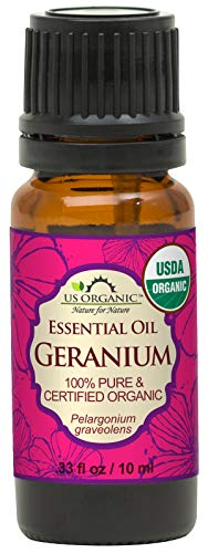 US Organic 100% Pure Geranium Essential Oil - USDA Certified Organic, Steam...