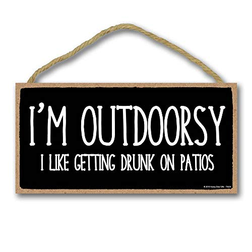 Bar Decor, I'm Outdoorsy - 5 x 10 inch Hanging Sign, Wall Art, Decorative Wood Sign Funny Home Decor