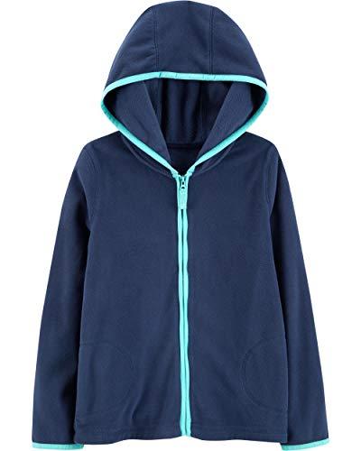 Carter's Girl's Fleece Zip-Up Hoodie (3T, Navy)