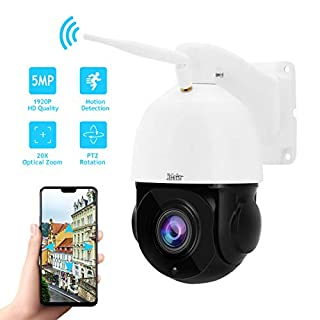 Outdoor PTZ WiFi 5MP 20X Optical Zoom Wireless IP Camera for Security Surveillance with Build-in Two-Way Audio Support IP66 Waterproof,ONVIF Protocol,IR Night Vision and Automatic Cruise