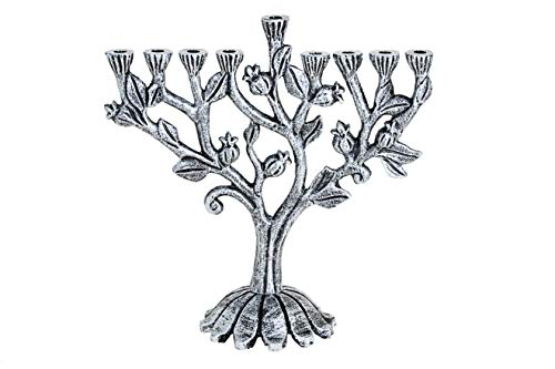 Legacy Judaica Silver Pomegranate Chanukah Menorah - for Standard Hanukkah Candles - Branch Menora Style - 9