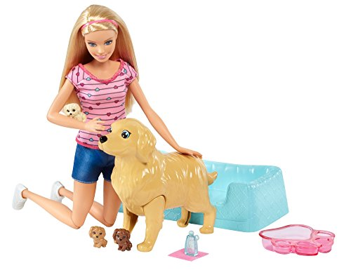 Barbie Newborn Pups Doll & Pets Playset, Blonde (Headband Barbie)