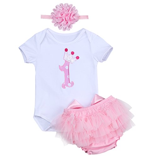 hday Short Sleeves Tutu Set 3PCs Jumpsuit Skirt Dress Up Onesie Outfits Headband 1st Pink&White 6-12 Months (Short Sleeve Bloomers)