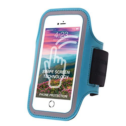 Excercise Sport Running Gym Fingerprint ID Access Armband Case For iPhone 8 Plus / 7 Plus/Samsung Galaxy S9 / S9 Plus / J8 / LG G7 ThinQ/LG Stylo 4 / LG V35 ThinQ/LG K30 / V30 / Q Stylus (Blue) ()