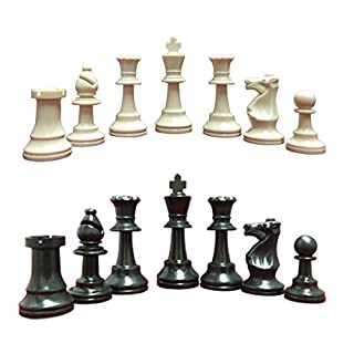 """Heavy, Triple Weighted, School, Club, Tournament Chess Set, Black/White - 34 Chess Pieces (2 Extra Queens), 3.75"""" Tall King, Instructions on How to Play Chess"""