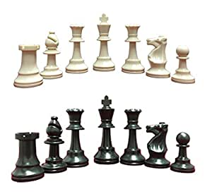 """Heavy Tournament Triple Weighted Value Plastic Chess Set in Black & White - 3.75"""" King"""