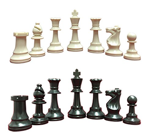"Heavy, Triple Weighted, School, Club, Tournament Chess Set, Black/White - 34 Chess Pieces (2 Extra Queens), 3.75"" Tall King, Instructions on How to Play Chess"