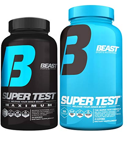 Super Test Combo Pack: Beast Sports Super Test Maximum (120 Capsules) & Super Test Original (180 Capsules)-Optimum Test Booster Combination to Build Powerful Lean Muscle & Boost Strength & Endurance.