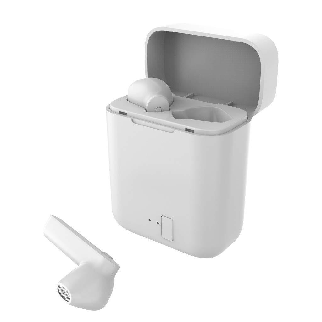 Qomomont Auriculares BT Bluetooth 5.0, est/éreo, inal/ámbricos, Bluetooth, con Mini Compartimento de Carga y micr/ófono Integrado para iPhone y Android