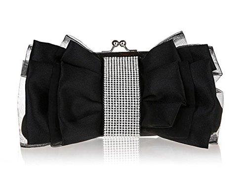 Pleated Bow Clutch - Ladies Bow Pleated Crystal-Studded Satin Bridal Evening Cocktail Wedding Party Handbag Clutch (Black)