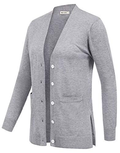 GRACE KARIN Women's Long Sleeve Open Front Knit Cardigan Sweater with Pocket