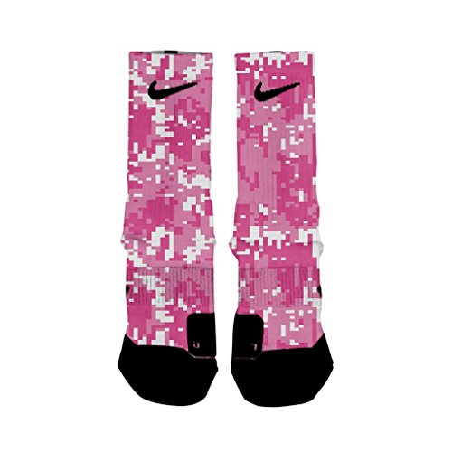 HoopSwagg Breast Cancer Digital Camo Custom Elite Socks Medium]()