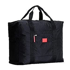 Tasoll Cabin Size Hand Baggage Duffel Holdall Bag Foldaway Luggage Bag Waterproof Tote Bag Waterproof For Travel Sports Gym Attach on The Handle Of Suitcase 1Pcs Black