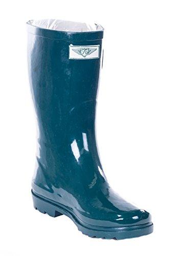 Women Mid-Calf Forest Green Rubber Rain Boot, (Xcite Green)