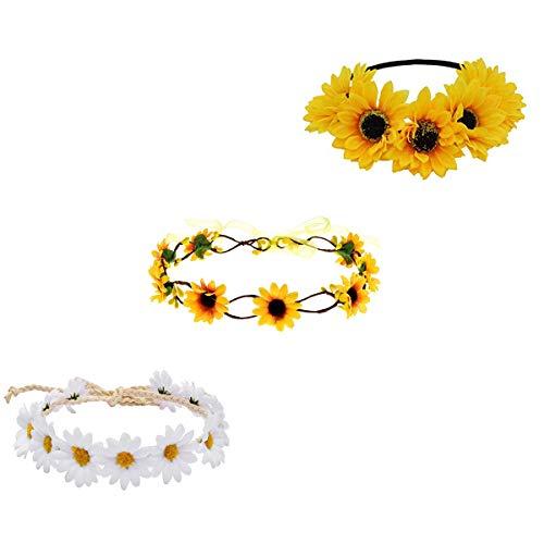 Ever Fairy Halloween Wreath Set,Sunflower Crown Daisy Headband Gift for Beach Hippie Party (1# - 3 Piece)]()