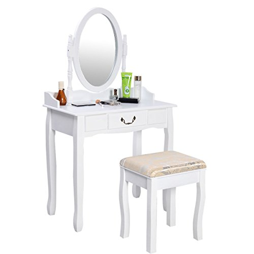 Giantex Vanity Table w/Cushioned Stool Bench Jewelry Makeup Dresser Desk w/ 1 Drawer Dressing Table and Stool Set Bedroom Bathroom Furniture 360° Spinning Round Mirror, White by Giantex