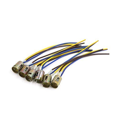 (uxcell 6Pcs 3 Wires 1157 Bulb Socket Brake Turn Signal Light Lamp Harness LED Lamp Adapter)