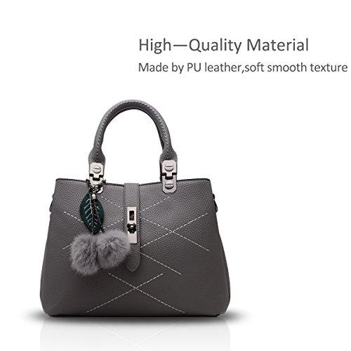 NICOLE&DORIS nuevo paquete de ondas de mensajero del bolso del bolso de las señoras bolsos del bolso de las mujeres para las mujeres(Pink) Gris