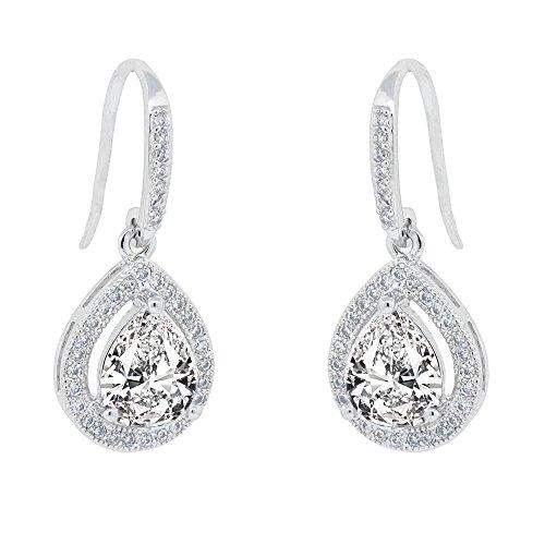 Cate & Chloe Isabel 18k White Gold Teardrop CZ Earrings, Drop Dangle-Earrings, Best Silver Earrings for Women, Girls, Ladies, Halo Drop Earrings with CZ -
