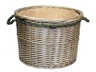 Large Antique Wash Round Rope Handled Log Basket