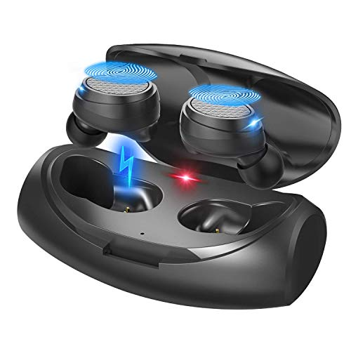 [2019 Update Version]QDT B9 True Wireless Earbuds, Bluetooth 5.0 Earbuds with Space Capsule Charging Case IPX7 Waterproof Auto Pairing in-Ear Wireless Stereo Bluetooth Headphones Support Running Sport