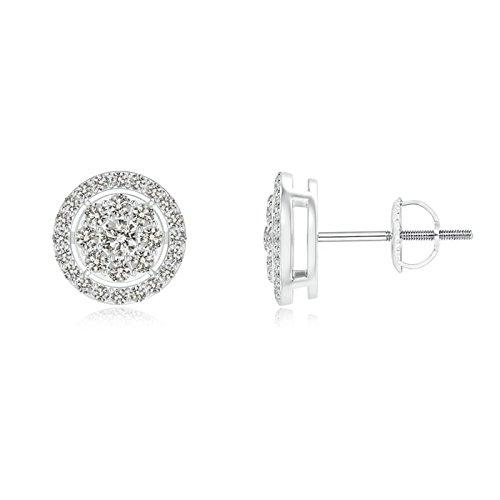 Angara Round Black Onyx and Diamond Halo Stud Earrings in Platinum 8i9Zk10vhT