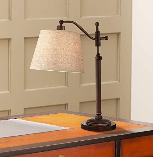 - Adley Downbridge Style Desk Table Lamp Adjustable Height Bronze Metal Tan Linen Look Shade for Living Room Bedroom Bedside Nightstand Office - Regency Hill
