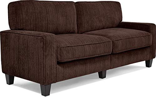 "Serta Palisades Upholstered Sofas for Living Room Modern Design Couch, Straight Arms, Soft Fabric Upholstery, Tool-Free Assembly, 78"", Brown - Quick tool-free assembly and one-box packing for easy set up and assembly in small living spaces Durable, easy-to-clean corduroy textured fabric Modern square arms and plush fabric create a classic look that completes any decor - sofas-couches, living-room-furniture, living-room - 41B NfB6rpL -"