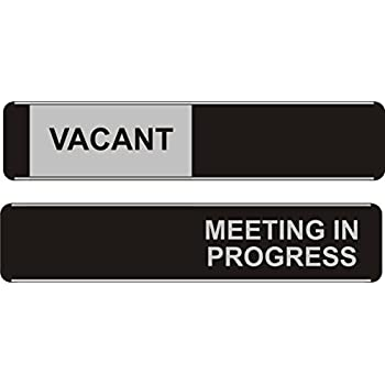 Aluminum//PVC Seco Vacant//Meeting In Progress Sliding Sign 255mm x 52mm Pack of 5