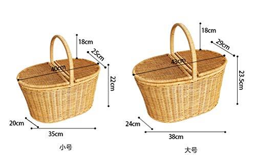 NKDK Creative Bamboo And Rattan Basket Picnic Basket Vegetable Fruit Basket Portable Clamshell Food Storage Basket -Fruit basket (color : Brown, Size : ()