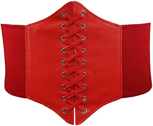 HOEREV Women Girls Elastic Wide Band Elastic Tied Waspie Corset Waist Belt Bustiers Halloween Corsets Size XS-XXXL