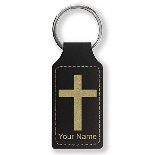 Rectangle Keychain, Christian Cross, Personalized Engraving Included (Black with Gold) ()