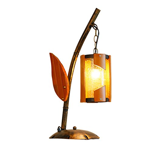 DYFYMXTable lamp, table lamp Creative antique bamboo lamp, cafe, study, bedroom, wrought iron table - Table Antique Bamboo