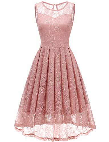 Gardenwed Women's Vintage Lace High Low Bridesmaid Dress Sleeveless Cocktail Party Swing Dress Blush L