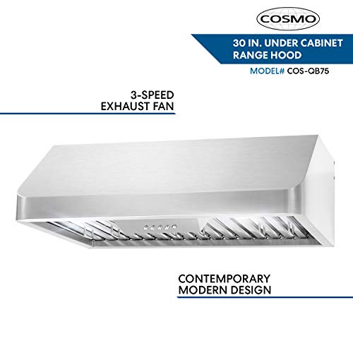 Cosmo QB75 30 in. Under Cabinet Range Hood with Push Button Controls, Permanent Filters, LED Lights, Convertible from Ducted to Ductless (Kit Not Included) in Stainless Steel