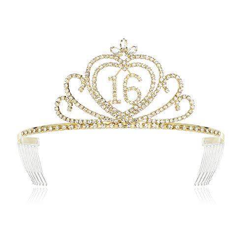 DcZeRong Princess 16 Birthday Girls Tiara Crown Gold Girls 16th Birthday Princess Tiaras Crowns ()