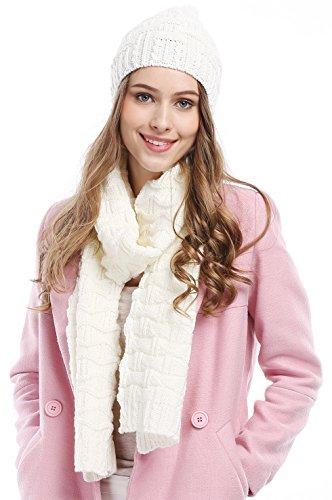Winter Women Scarf Hat Set Knitted Skullcaps White - 2